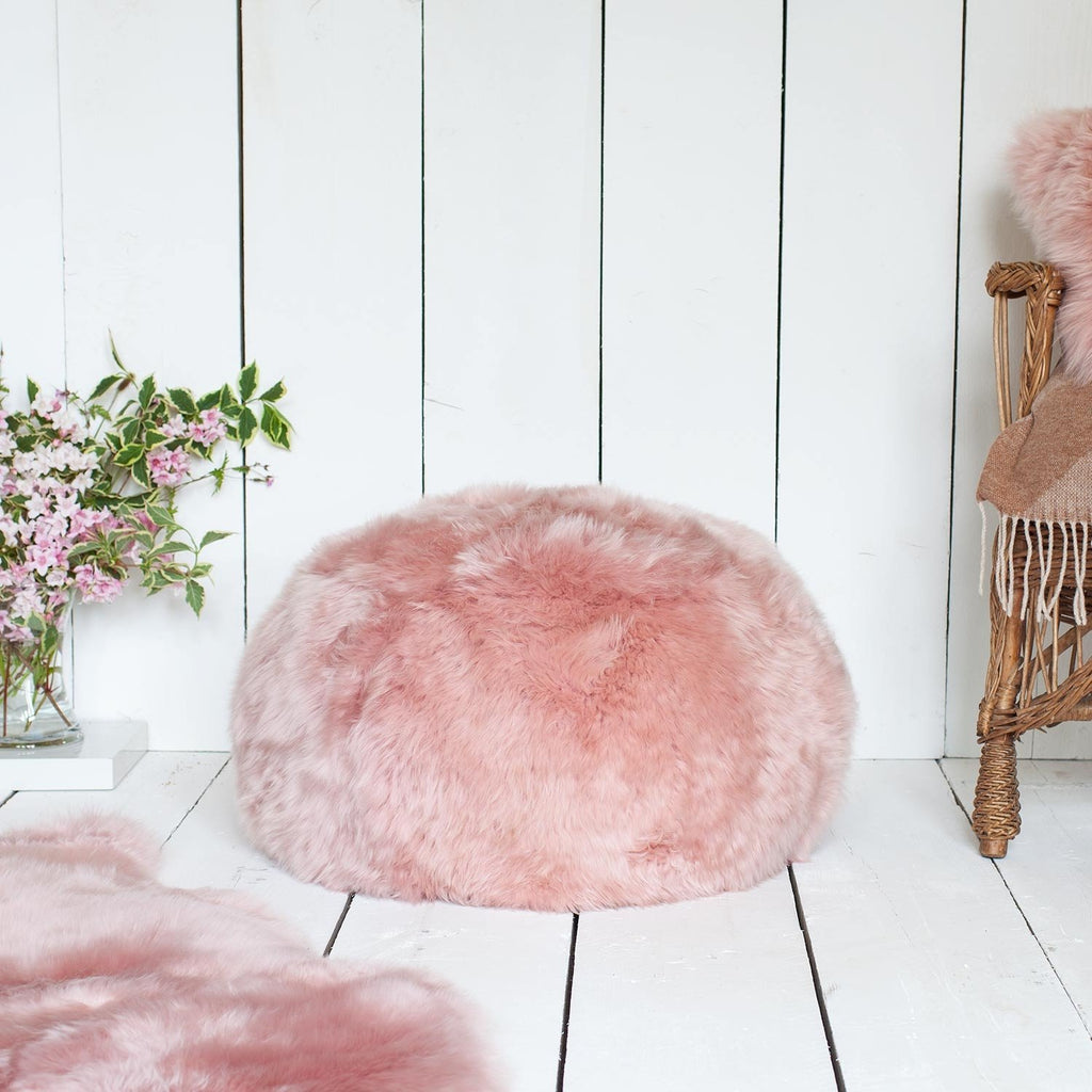 Sheepskin Pouffe Dusky Pink SHEEPSKIN The Wool Company