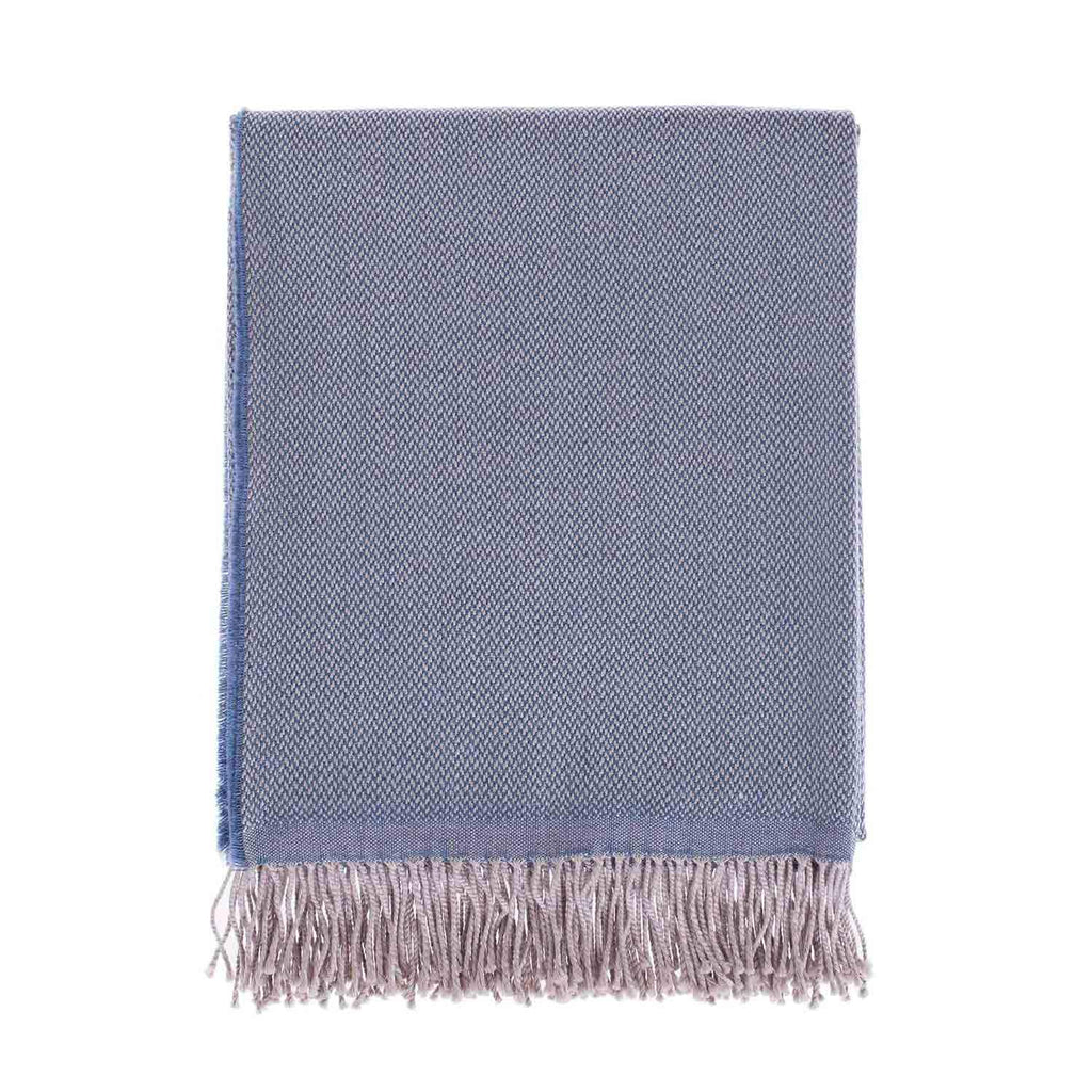 Siena Merino Luxury Throw in Wedgwood Blue LIVING The Wool Company