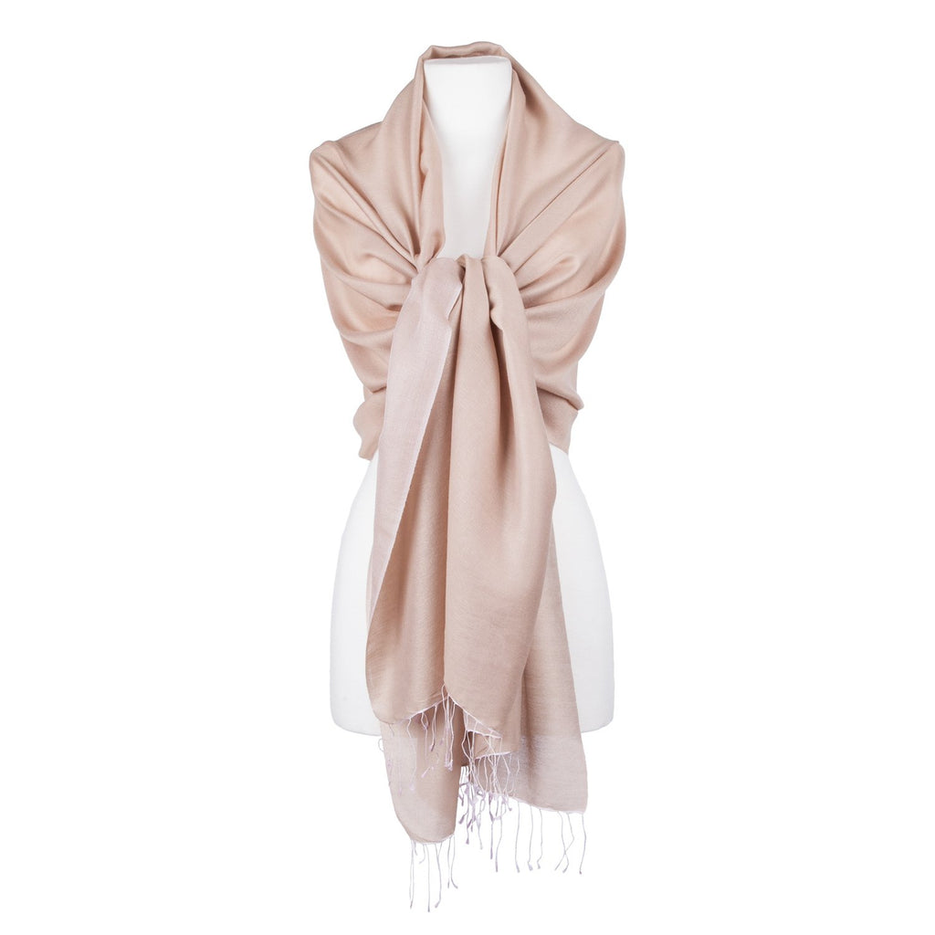 Silk Blend Shawls Coffee Cream -  - CLOTHING  from The Wool Company