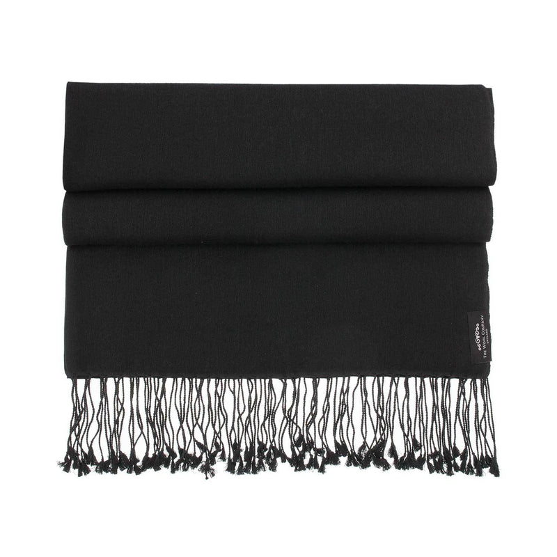 Buy Silk Cashmere Pashmina Black From The Wool Company Online
