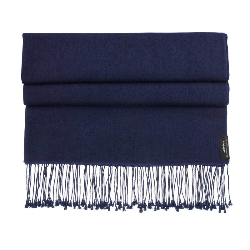 Buy Silk Cashmere Pashmina Navy From The Wool Company Online