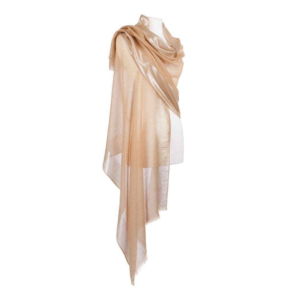 Silver Bordered Cashmere Pashmina Stole - Gold - CLOTHING  from The Wool Company