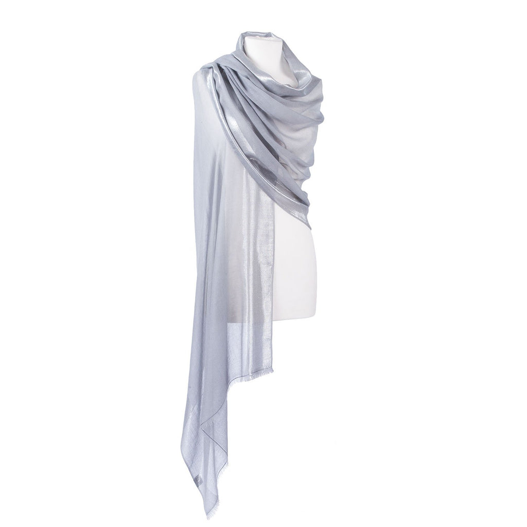 Silver Bordered Cashmere Pashmina Stole - Silver - CLOTHING  from The Wool Company