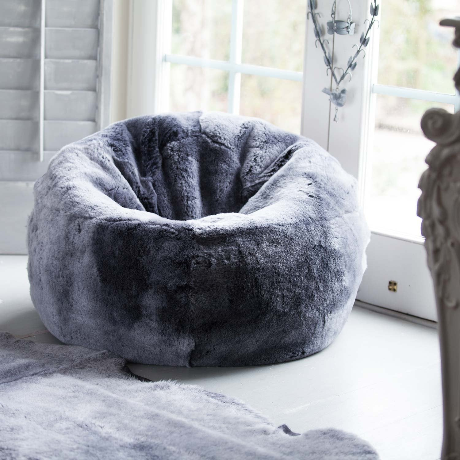 Outstanding Small Sheepskin Beanbag In Graphite Silver Grey The Wool Company Gmtry Best Dining Table And Chair Ideas Images Gmtryco