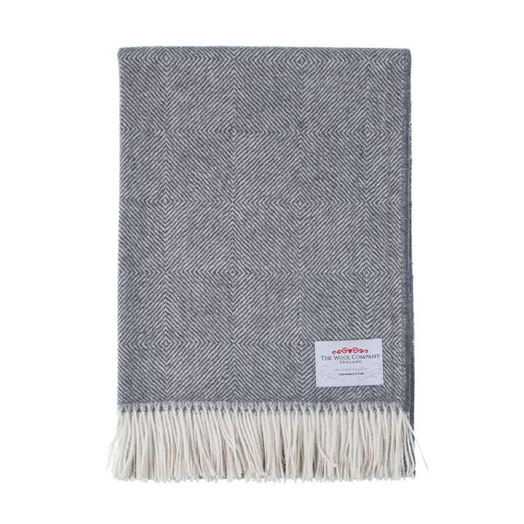 Soft Alpaca Throw Grey Herringbone - Default Title - LIVING  from The Wool Company