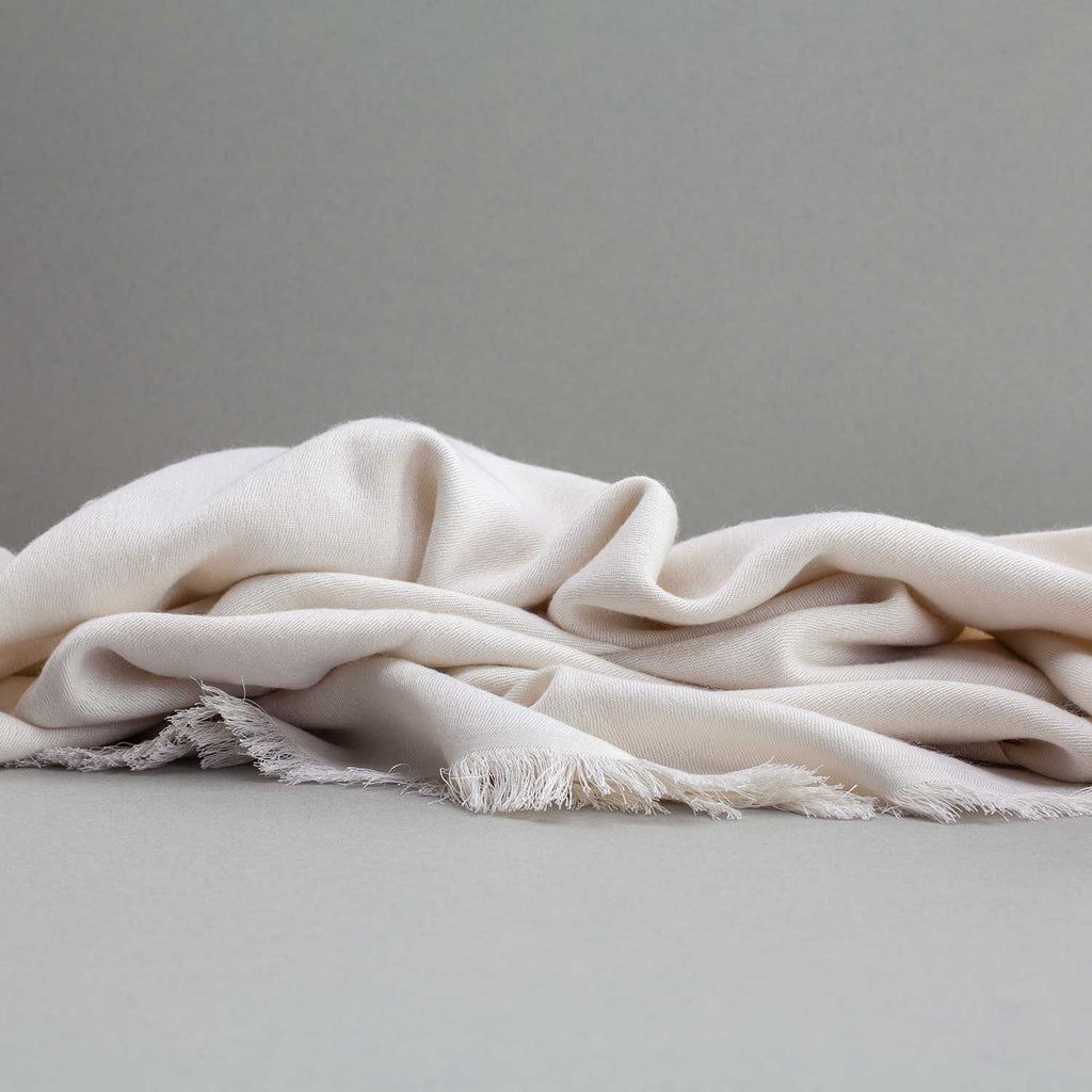 Soft Fringed Pashmina Ivory -  - CLOTHING  from The Wool Company