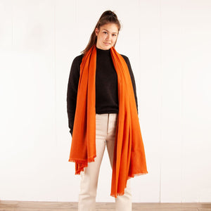 Soft Fringed Pashmina Orange -  - CLOTHING  from The Wool Company