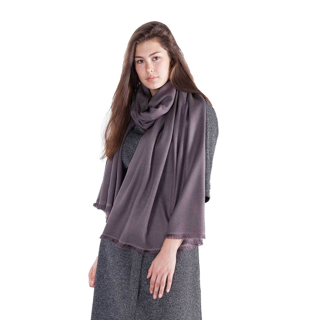 Soft Fringed Pashmina Smoke -  - CLOTHING  from The Wool Company