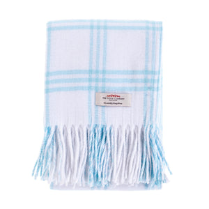 Buy Softest Cotton Check Baby Blanket Soft Blue From The Wool Company Online