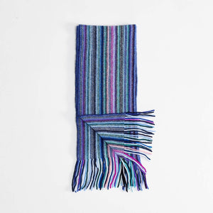 Stripe Cashmere Scarf Blue -  - CLOTHING  from The Wool Company