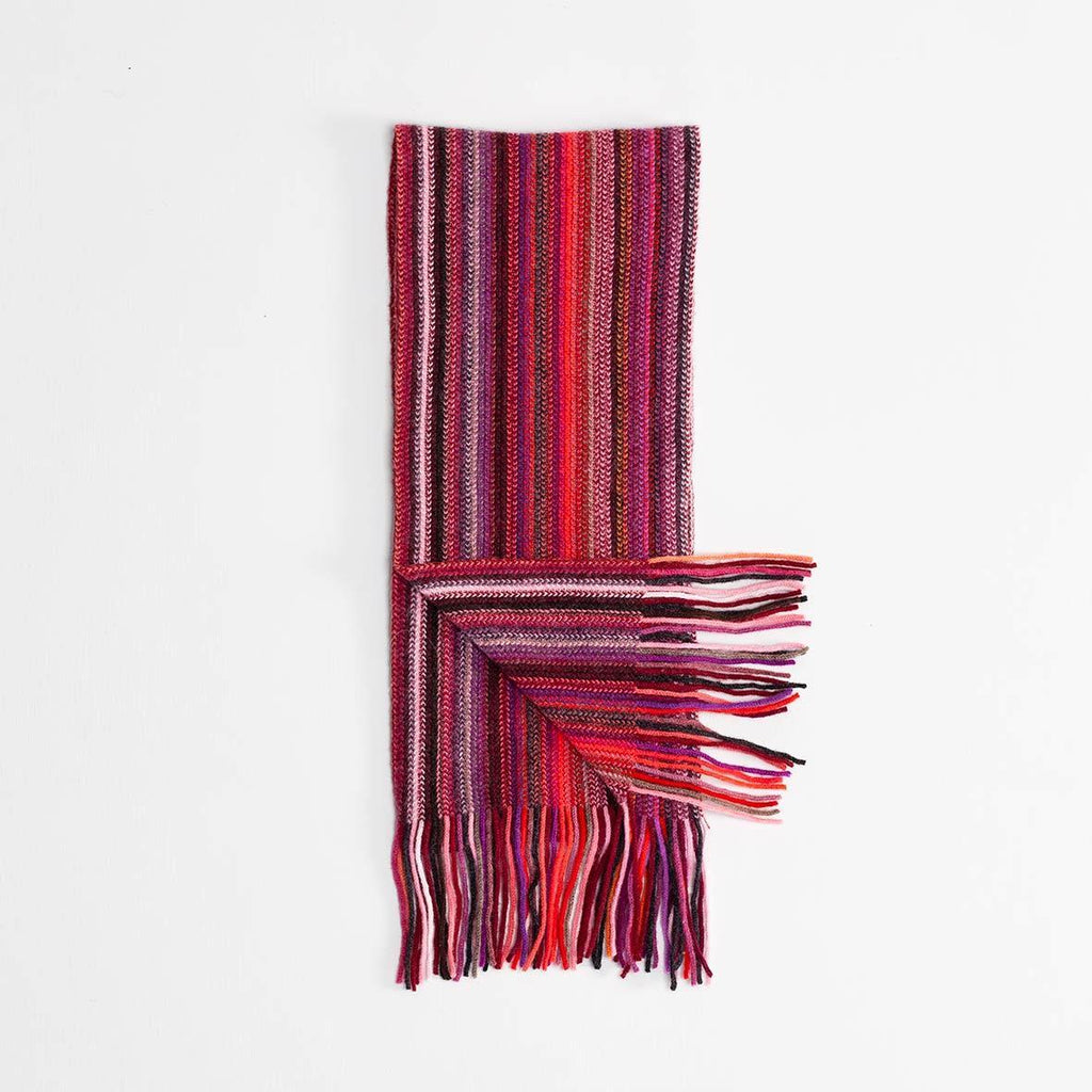 Stripe Cashmere Scarf Burgundy -  - CLOTHING  from The Wool Company