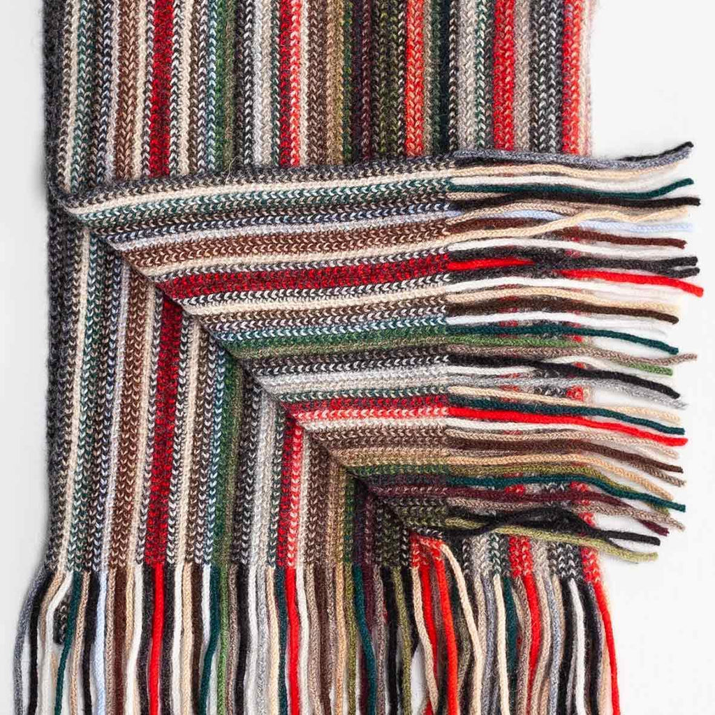Stripe Cashmere Scarf Green -  - CLOTHING  from The Wool Company