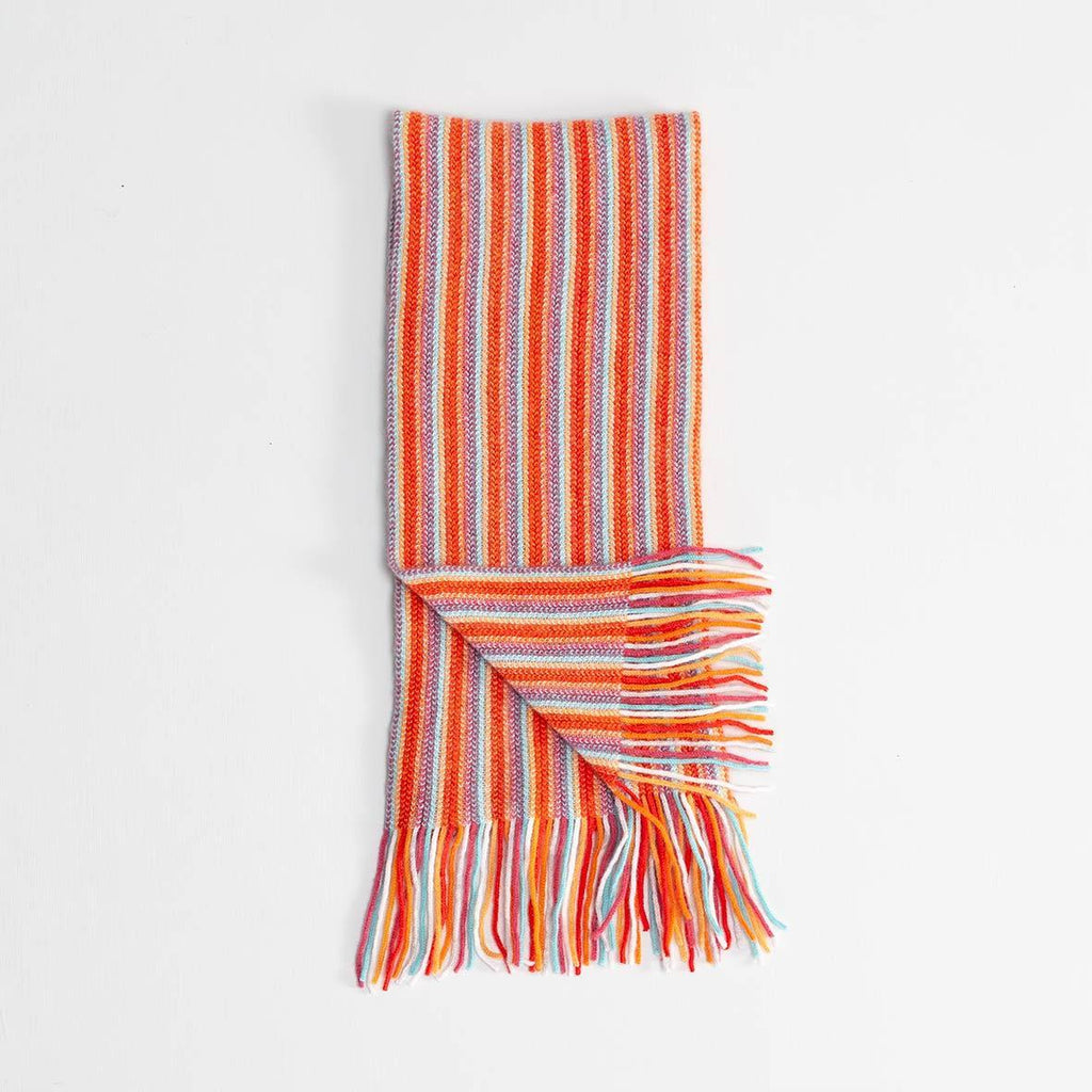 Stripe Cashmere Scarf Orange -  - CLOTHING  from The Wool Company