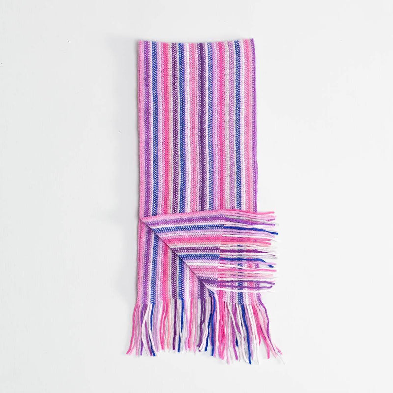 Stripe Cashmere Scarf Pink -  - CLOTHING  from The Wool Company