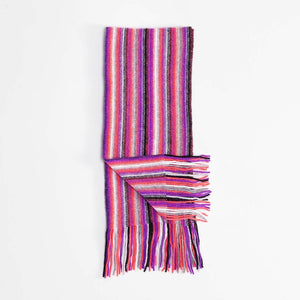 Stripe Cashmere Scarf Purple -  - CLOTHING  from The Wool Company