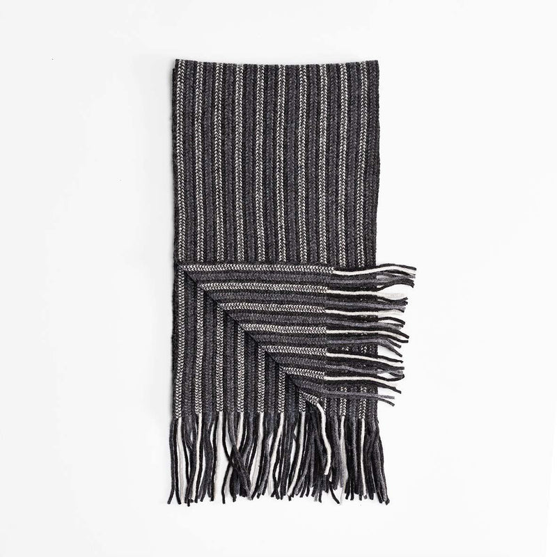 Stripe Lambswool Scarf Dark Grey -  - CLOTHING  from The Wool Company