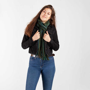 Stripe Lambswool Scarf Green -  - CLOTHING  from The Wool Company