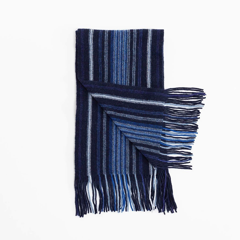 Stripe Lambswool Scarf Navy -  - CLOTHING  from The Wool Company