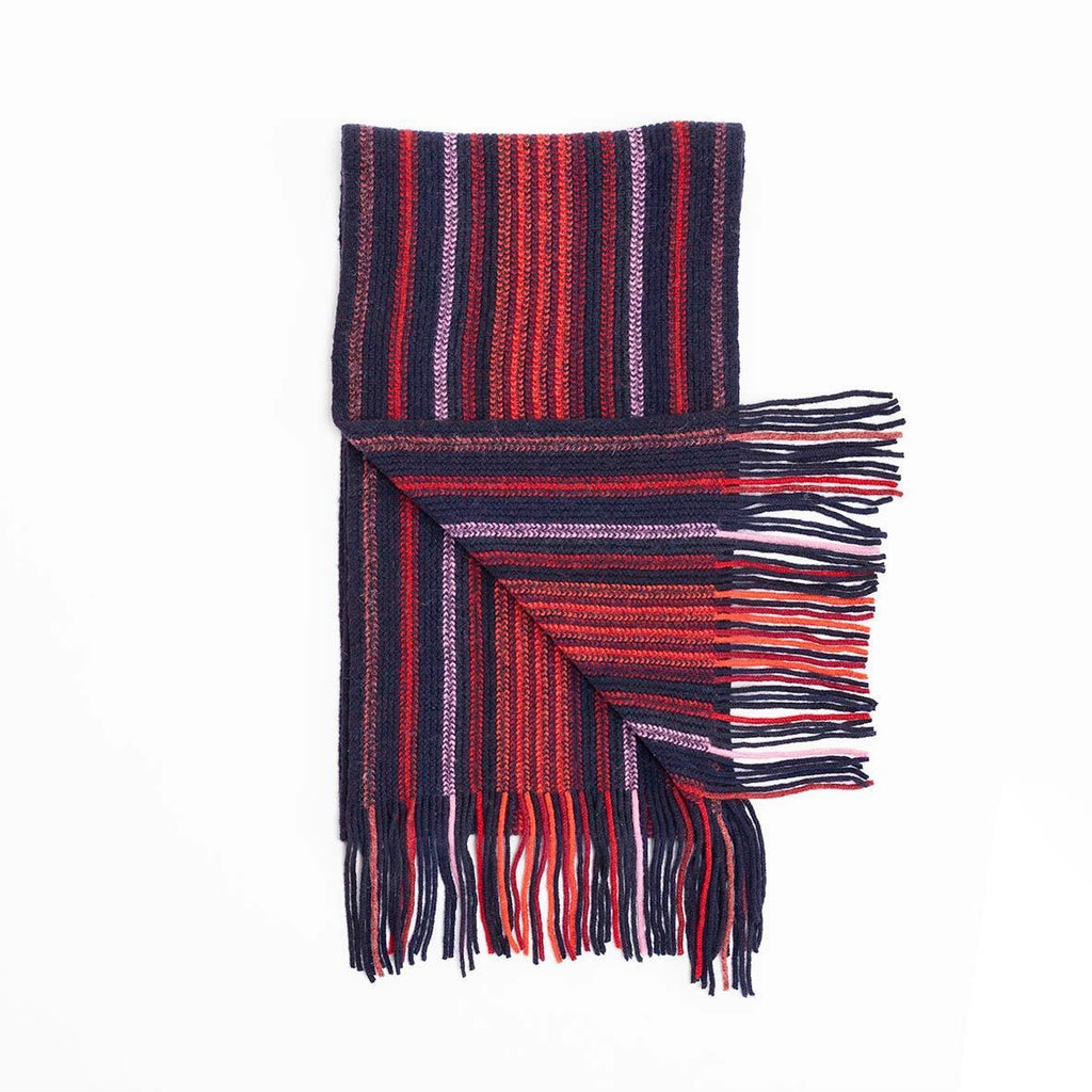 Stripe Lambswool Scarf  Navy & Orange -  - CLOTHING  from The Wool Company
