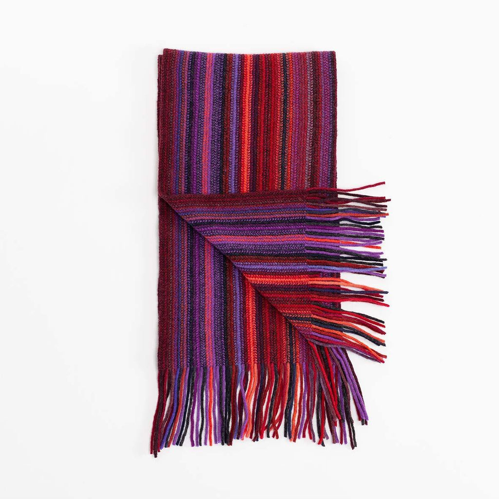 Buy Stripe Lambswool Scarf Red Multi From The Wool Company Online