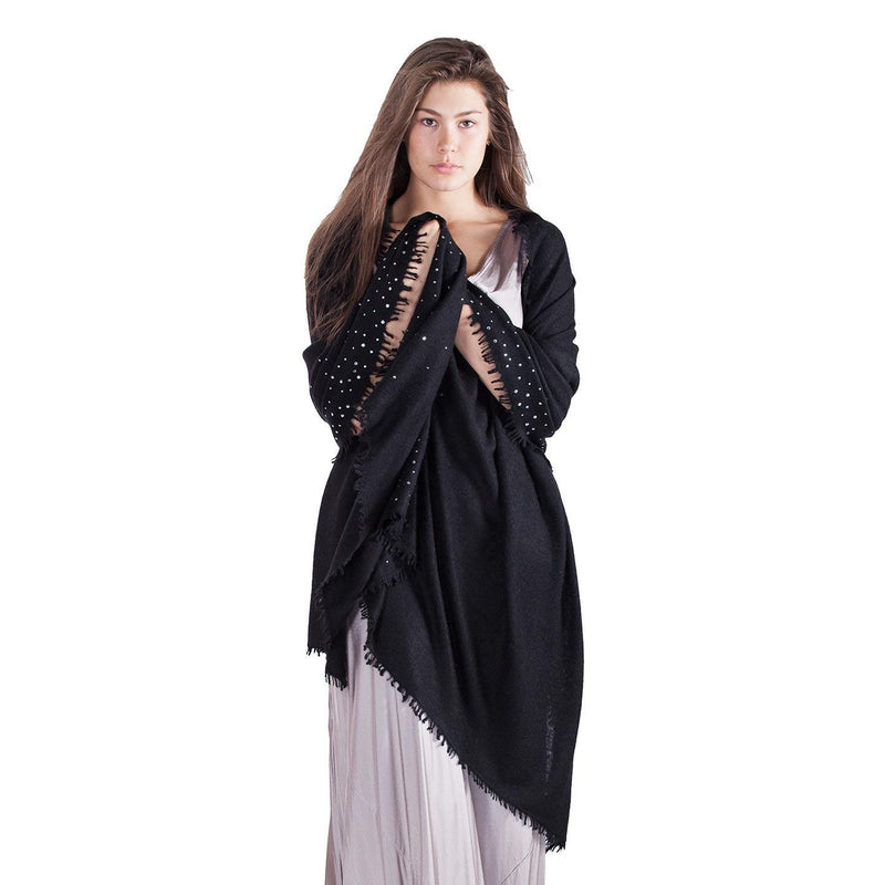 Swarovski Embellished Cashmere Pashmina Shawl Black -  - CLOTHING  from The Wool Company