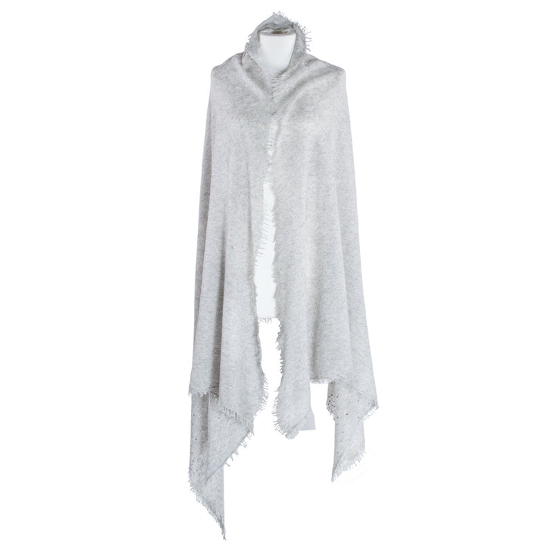 Swarovski Embellished Cashmere Pashmina Shawls Dove Grey CLOTHING The Wool Company
