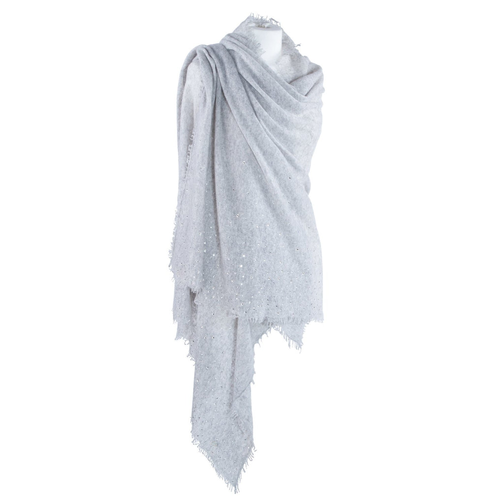 Swarovski Embellished Cashmere Pashmina Shawls Dove Grey -  - CLOTHING  from The Wool Company