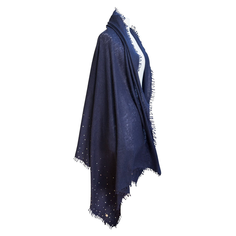 Swarovski Embellished Cashmere Pashmina Shawls Navy CLOTHING The Wool Company
