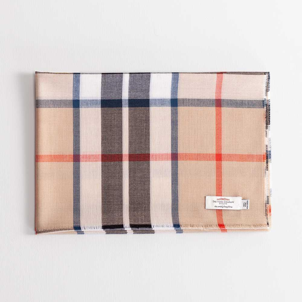 Tartan Extra Fine Merino Stole Thompson Camel Modern -  - CLOTHING  from The Wool Company