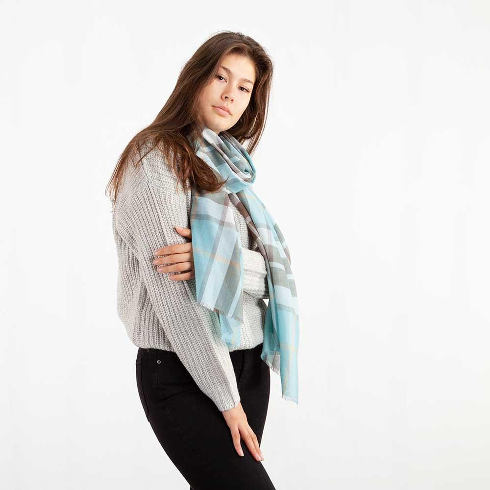 Buy Tartan Extra Fine Merino Stole Thompson Opal From The Wool Company Online