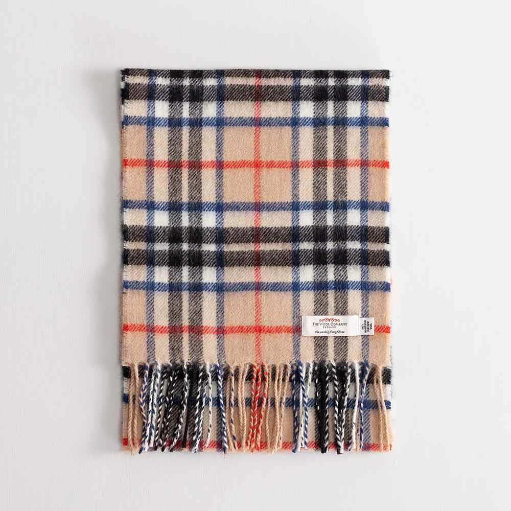 Buy Tartan Lambswool Scarf Thomson Camel Modern From The Wool Company Online