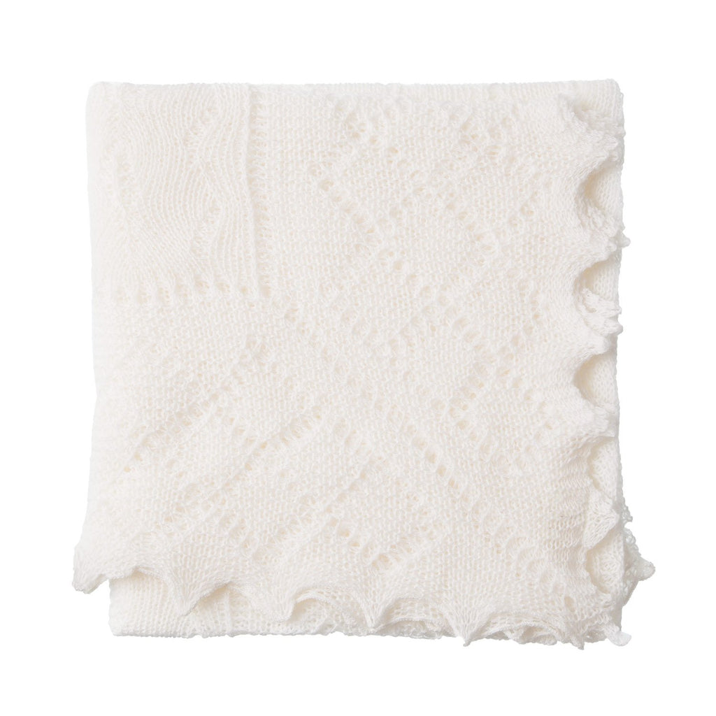 Traditional Ivory Wool Baby Shawl BABY The Wool Company