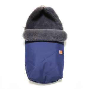 Universal Sheepskin Footmuff for Pram Navy and Grey -  - BABY  from The Wool Company