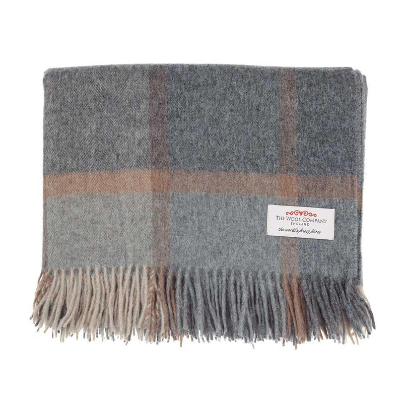 Buy Windowpane Merino Throw Grey and Beige From The Wool Company Online