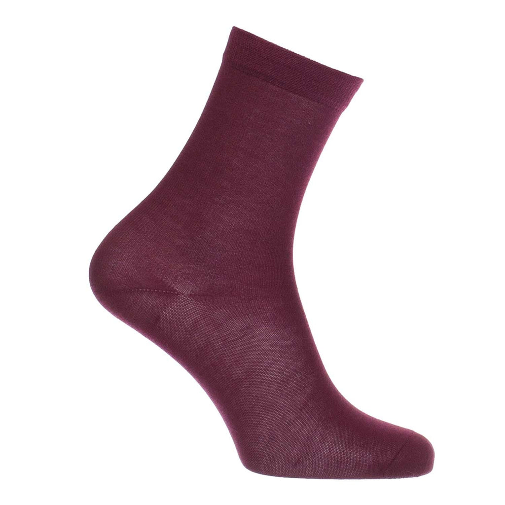 Womens 100% Silk Socks Burgundy 3-7 CLOTHING The Wool Company