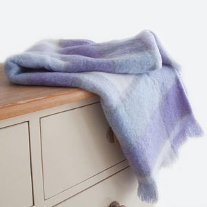 Wool Company Classic Mohair Knee Rug Lavender Check LIVING The Wool Company
