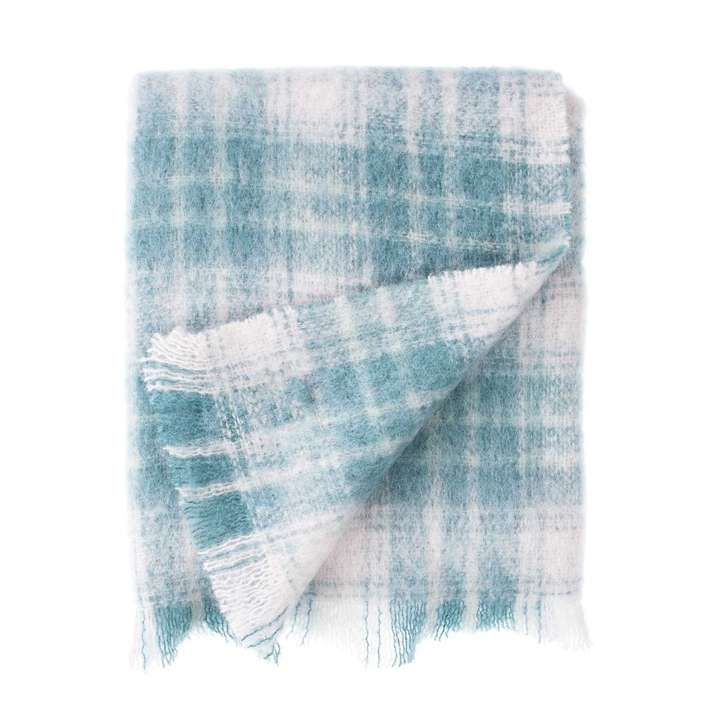 Wool Company Classic Mohair Knee Rug Teal Plaid Default Title LIVING The Wool Company
