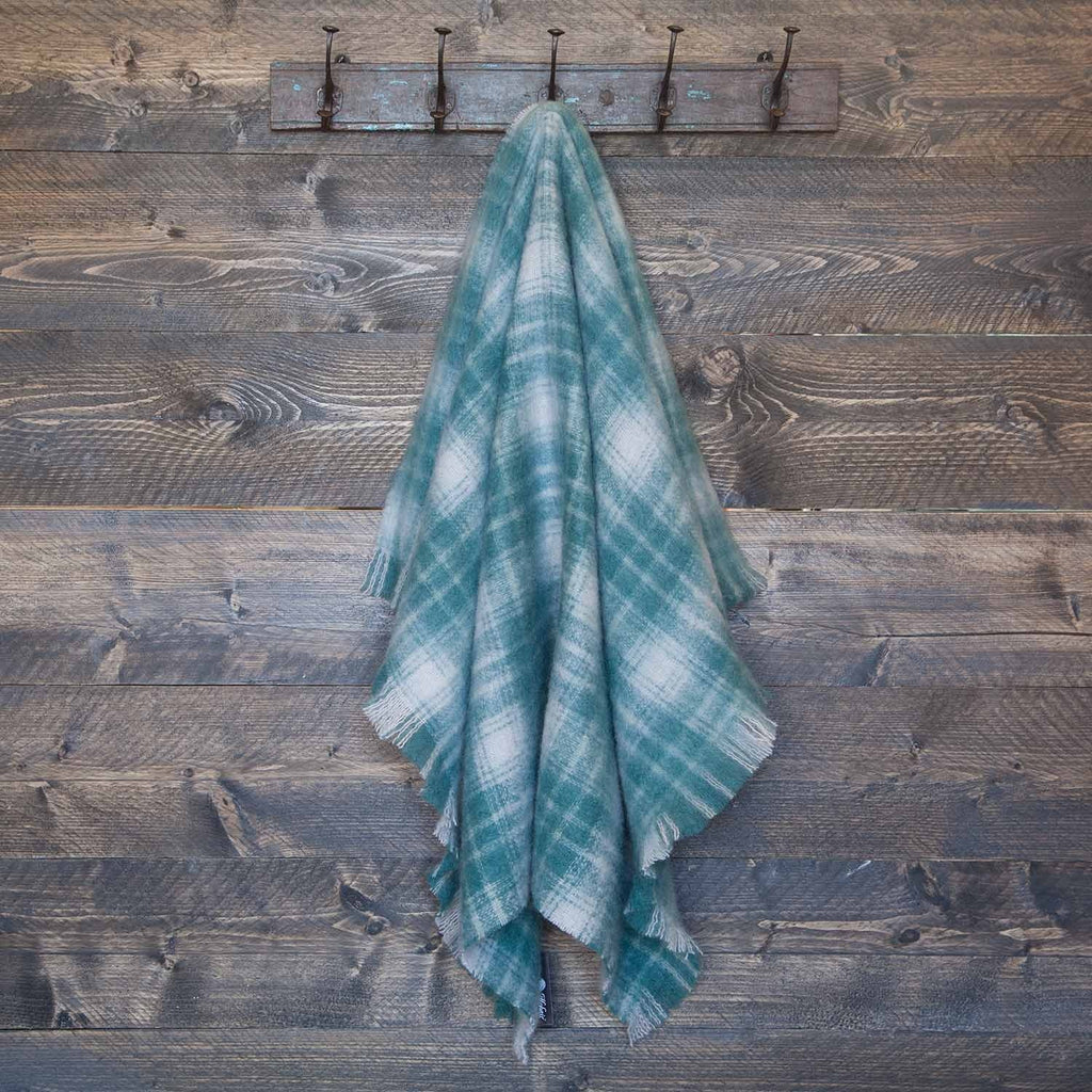 Wool Company Classic Mohair Knee Rug Teal Plaid LIVING The Wool Company