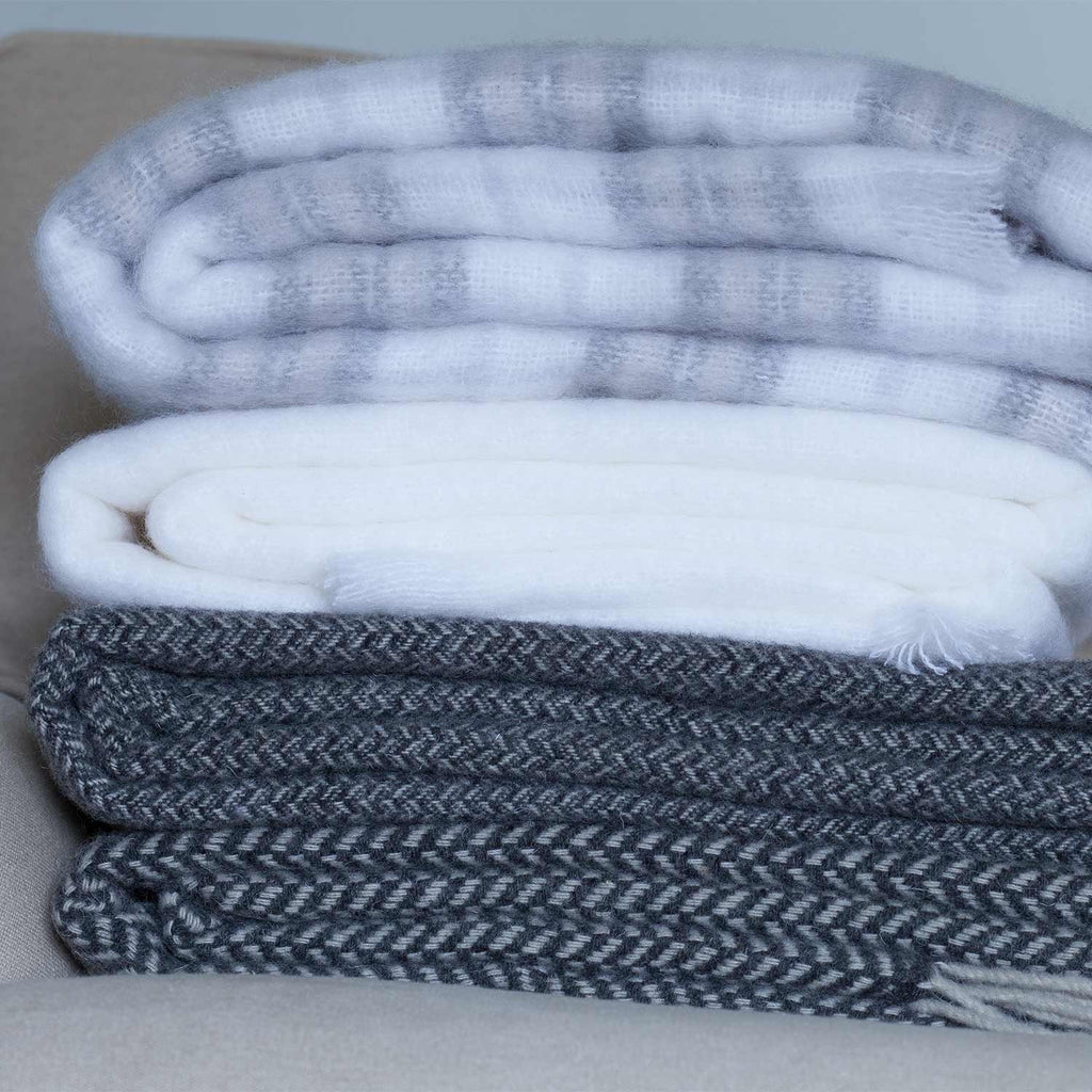 Wool Company Classic Mohair Throw Ice White -  - LIVING  from The Wool Company
