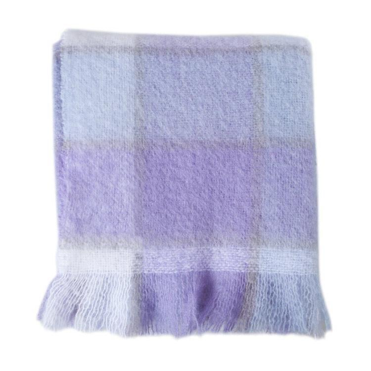 Wool Company Classic Mohair Throw Lavender Check -  - LIVING  from The Wool Company