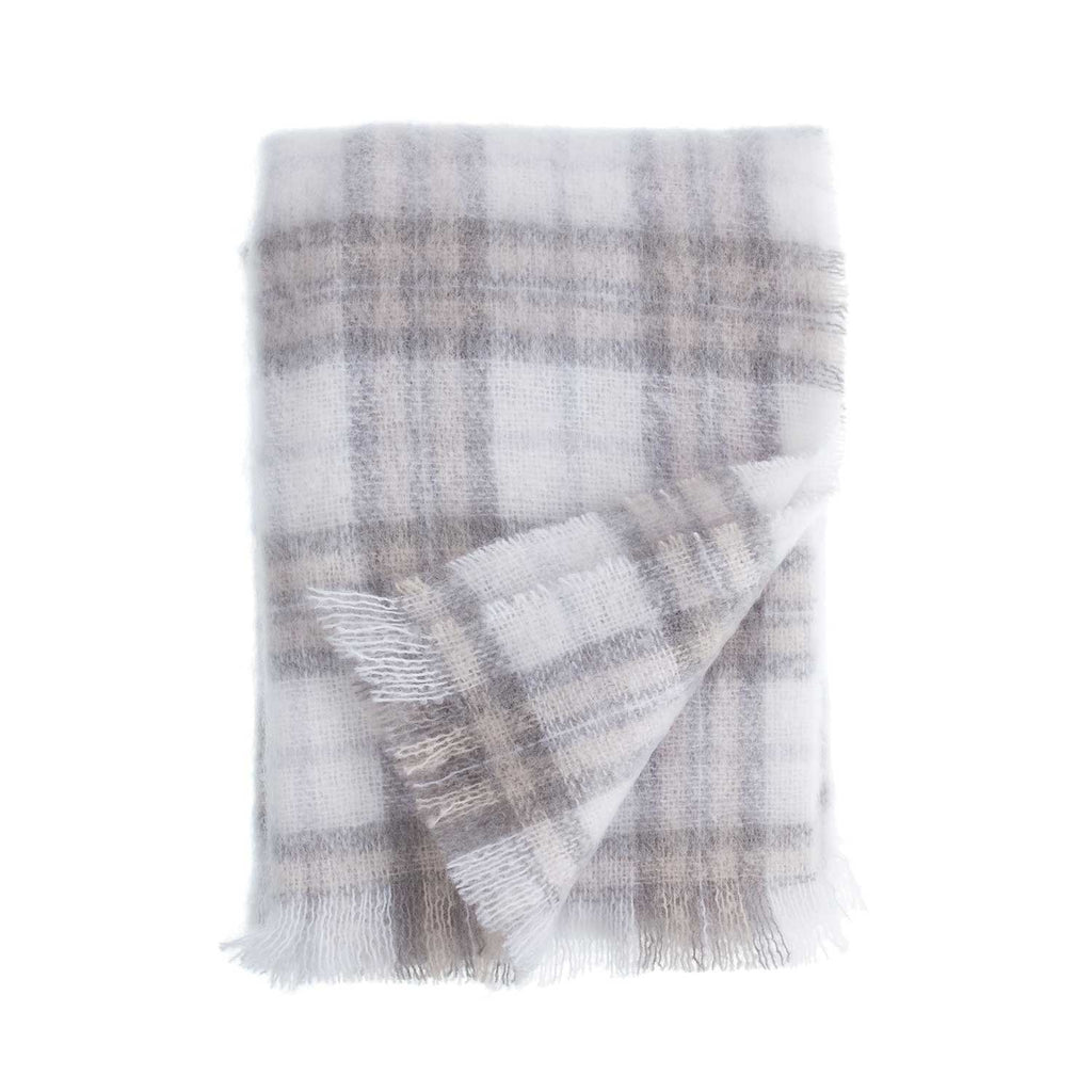 Buy Wool Company Classic Mohair Throw Natural Check From The Wool Company Online