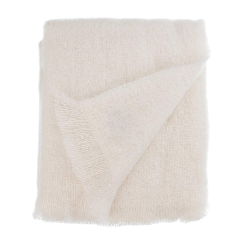 Wool Company Classic Mohair Throw Natural LIVING The Wool Company