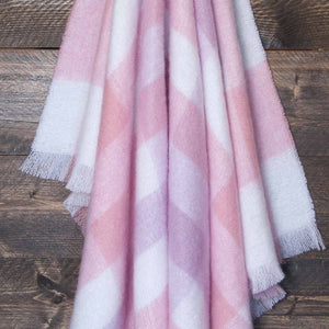 Wool Company Classic Mohair Throw Peony Check -  - LIVING  from The Wool Company