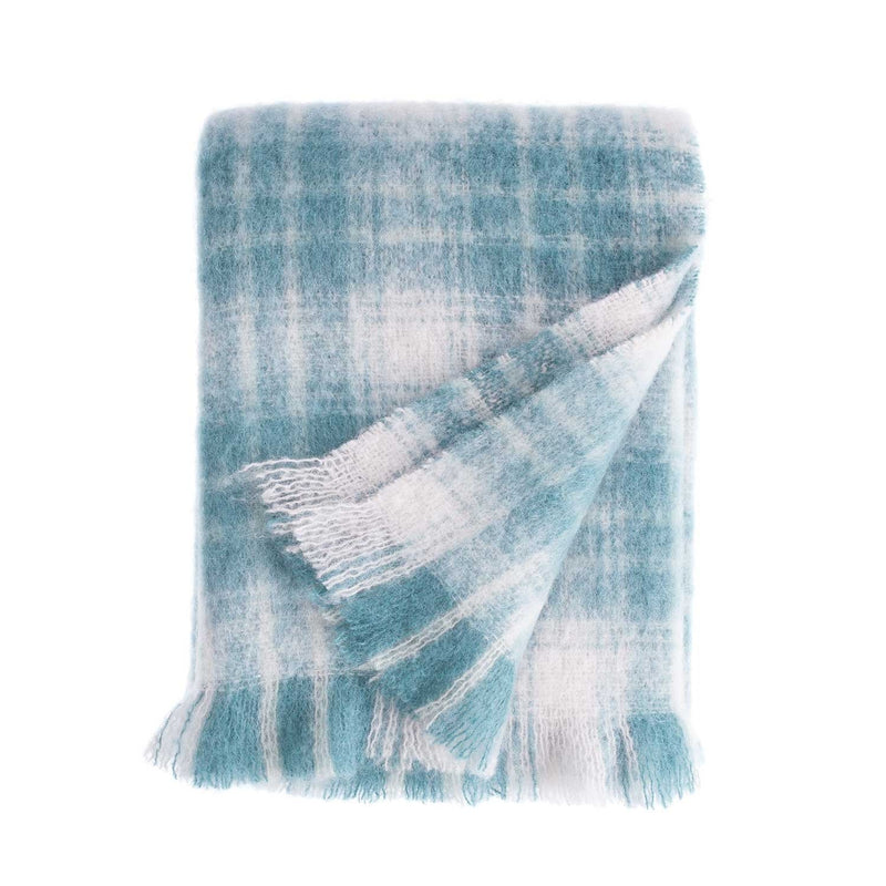 Wool Company Classic Mohair Throw Teal Plaid LIVING The Wool Company