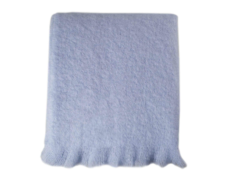 Wool Company Classic Mohair Throw Winter Sky LIVING The Wool Company
