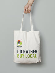 modern epicurean tote bag that says i'd rather buy local