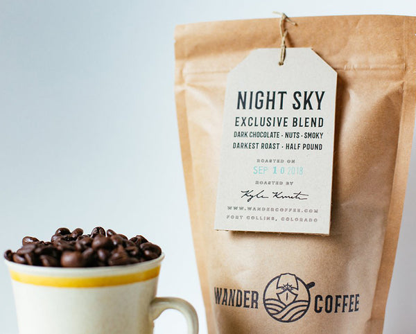 organic night sky blend with whole coffee beans