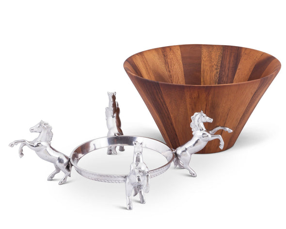 arthur court stylish equestrian wood salad bowl with four rearing horse stand