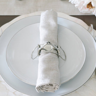 Luxury Grey Pewter Snaffle Bit Napkin Ring Set