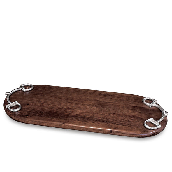beatriz ball stylish equestrian a bit oblong serving wood board with silver horse bit handles